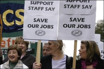 PCS workers demonstrate against compulsory outsourcing, photo Paul Mattsson