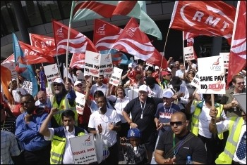 Bus workers protest in July 2008, photo Paul Mattsson
