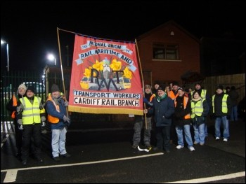 South wales RMT signal workers on strike, photo Socialist Party Wales