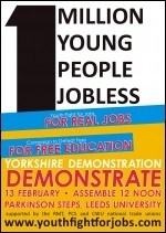 Leeds Youth Fight for Jobs demonstration leaflet