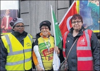 RMT members joined by Socialist Party member and Unite bus steward Joanne Harris, photo by Helen Pattison