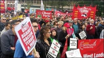 Socialist Party members joined the march commemorating the 80th anniversary of Cable Street, 9.10.16, photo Socialist Party