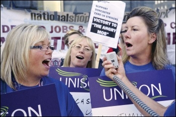 Privatised NHS workers employed by Care UK in Doncaster striking against cuts, photo Paul Mattsson