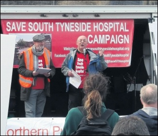 Socialist Party member Norman Hall speaking at the rally in defence of South Tyneside Hospital, October 2016, photo by Nick Fray