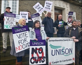 Trade unionists in Carmarthenshire lobbying their council for a no-cuts budget, photo Scott Jones