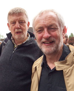 Dave Nellist and Jeremy Corbyn at the Burston rally, 4.9.16, photo Teresa Mackay