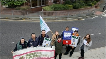 Newsquest picket line in Sutton, south London, 25 October photo NSSN