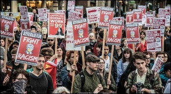 Anti-Trump protesters in Seattle at a demonstration called by Socialist Alternative