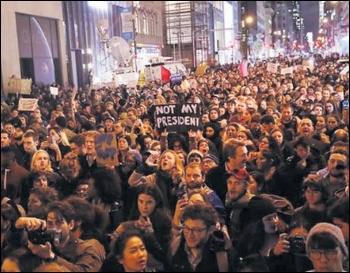 Marchers at a Socialist Alternative-organised protest against Trump's victory in New York