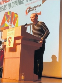 Paul Murphy, Anti Austerity Alliance TD, speaking at Socialism 2016, photo by Dave Gorton