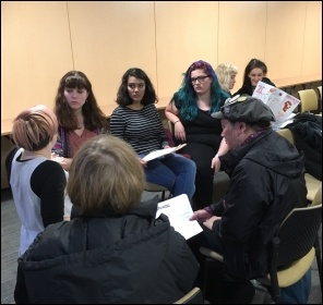 School students discussing socialist ideas at Socialism 2016, photo by Paula Mitchell