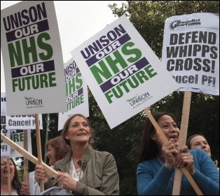 Health workers and campaigners marching against cuts at Whipps Cross Hospital, east London, photo by Paul Mattsson