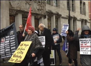 Disabled rights campaigners outside the Supreme Court hearing on seven bedroom tax cases, 9.11.16, photo by Amalia