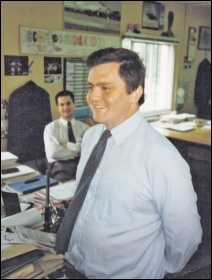 John Sharpe working at Rolls-Royce, where he was a Militant-supporting trade union activist