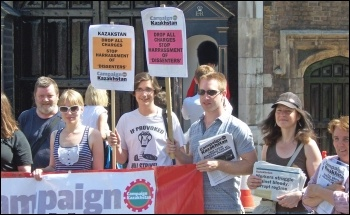 John Sharpe (far left) and other Socialist Party members on a solidarity protest with Campaign Kazakhstan