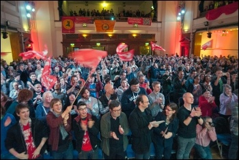 John Sharpe (centre) at the Socialism 2014 rally