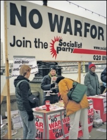 John Sharpe (far right) on a Socialist Party campaign stall against the war in Iraq