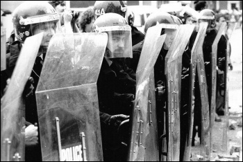 Riot police attacked a mass picket of the Orgreave coking plant in 1984, photo West Midlands Police (Creative Commons)
