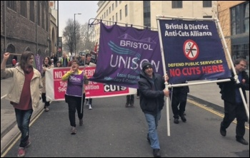 Marching against the cuts in Bristol, 18.2.17, photo Roger Thomas
