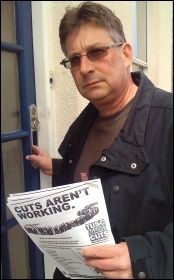 John Pickett out campaigning for TUSC, photo by B Norman