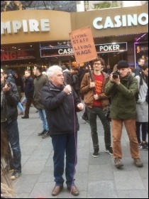 John McDonnell addresses the Picturehouse demo, Central London, 25.2.17, photo by Clare Doyle