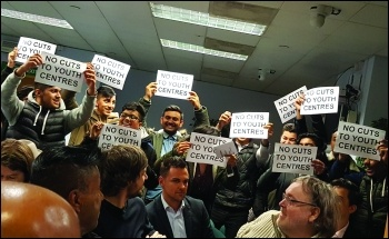 Tower Hamlets youth show their opposition to cuts photo Neil Cafferky