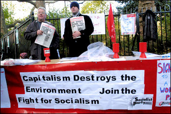 On the Climate change demo, a Socialist Party campaign stall, December 2005, photo Paul Mattsson