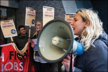 Socialist Party members out fighting zero-hour contracts with the Fast Food Rights campaign, photo by Paul Mattsson