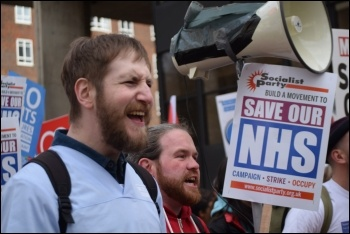 Health workers marching on the demo for the NHS, 4.3.17, photo Mary Finch