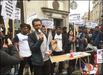 Socialist Party member Hugo Pierre speaking, anti-racism demo 18.3.17, photo Paula Mitchell
