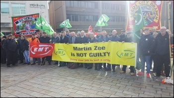 RMT protest in support of Martin Zee outside court photo RMT