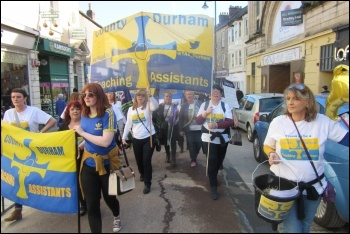 Durham TAs lead the march through Durham photo Elaine Brunskill