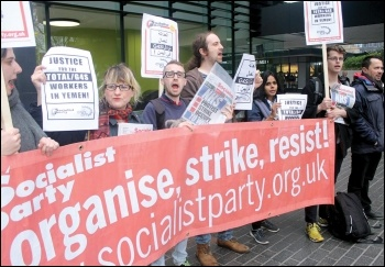 Socialist Party members join the day of international solidarity protests with victimised Total and G4S workers in Yemen, 31.3.17, photo by Senan