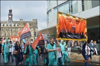 Leeds march to save the NHS 1 April photo Leeds Socialist Party