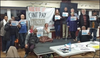 One Housing tenants in east London discussing the fight against their 40% rent hike, photo by Scott Jones