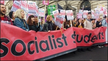 Socialist Students marching for free education, photo James Ivens