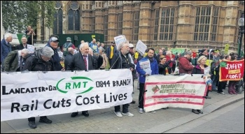 RMT members protesting outside parliament against DOO, 26.5.17, photo Chris Newby