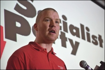 Ross Saunders speaking at Socialist Party congress 2017, photo by Mary Finch