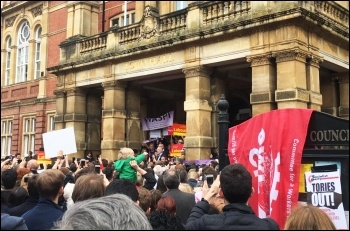 Socialist Party members join others at a rally for Jeremy Corbyn in Leamington - these rallies show the potential to build mass support, photo Lenny Shail