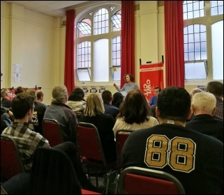 Socialist Party deputy general secretary Hannah Sell addressing a meeting in Coventry on the general election, 10.5.17, photo by Coventry Socialist Party
