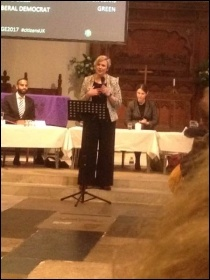 Walthamstow's Labour MP Stella Creasy speaking at a hustings on 17 May photo Nancy Taaffe