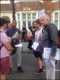 Justice for Grenfell! Socialist Party members distributing leaflets, photo Sarah Wrack