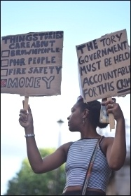 Grenfell demonstrators, 17.6.17, photo Mary Finch