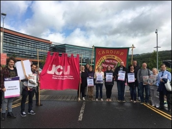A previous UCU Nantgarw picket line photo Socialist Party Wales, photo Socialist Party Wales
