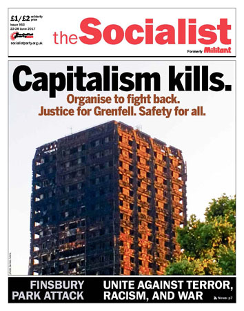 The Socialist's front page on the disaster