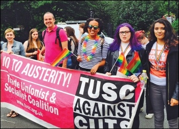 Socialist Party members marching with the Trade Unionist and Socialist Coalition at London Pride 2016