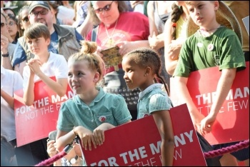 Part of the crowd at a Jeremy Corbyn rally in Chignford, east London, 6.7.17, photo Mary Finch