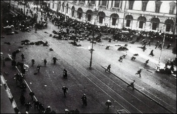 Street demonstration in St Petersburg 4 July 1917, just after troops of the Provisional Government opened fire with machine guns