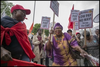 Singing, dancing, militant picket lines and protests by Barts health workers will continue in the new 14-day strike, photo Paul Mattsson