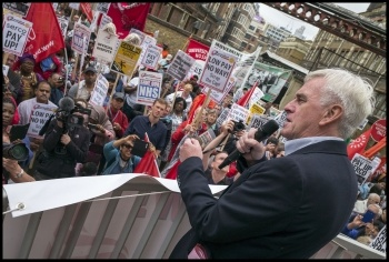 Shadow Chancellor John McDonnell addressed the strike protest on 15 July, photo Paul Mattsson